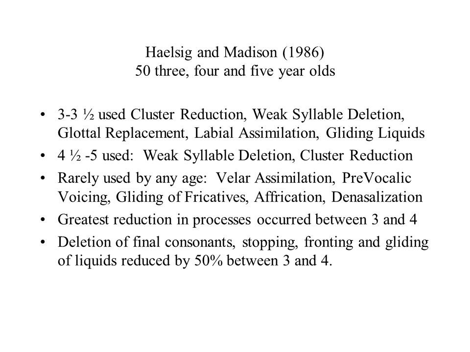 Haelsig and Madison (1986) 50 three, four and five year olds 3-3 ½ used Cluster Reduction, Weak Syllable Deletion, Glottal Replacement, Labial Assimil
