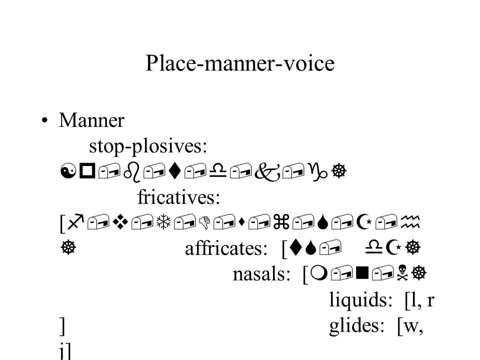 Place-manner-voice Manner stop-plosives: [p,b,t,d,k,g] fricatives: [ f,v,T,D,s,z,S,Z,h ] affricates: [ tS, dZ] nasals: [ m,n,N] liquids: [l, r ]glides: [w, j]