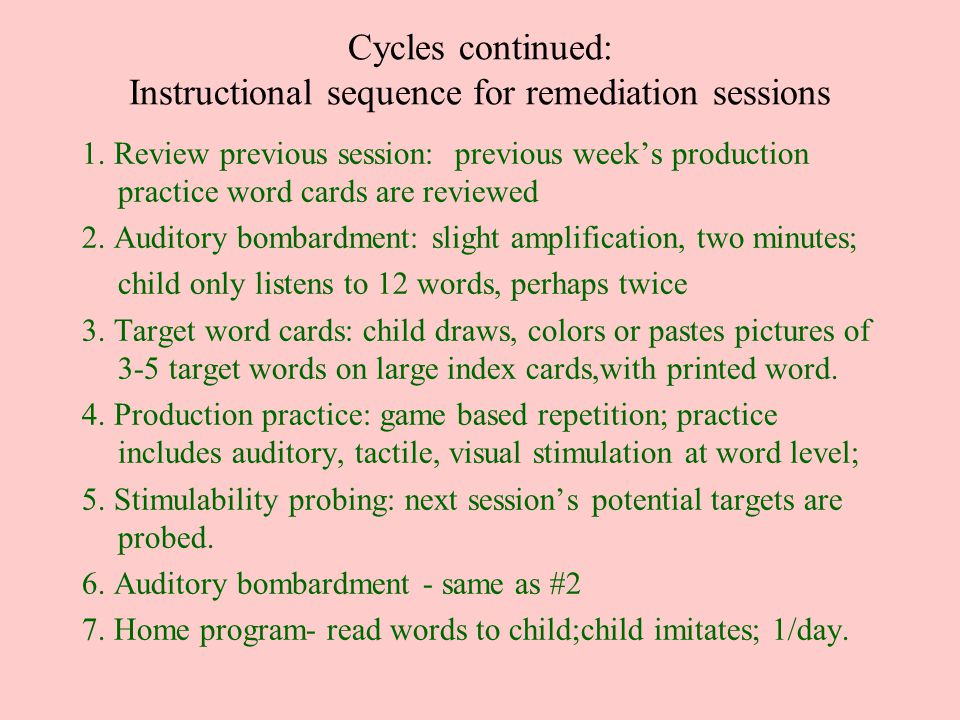 Cycles continued: Instructional sequence for remediation sessions 1. Review previous session: previous week's production practice word cards are revie