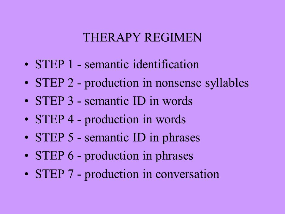 THERAPY REGIMEN STEP 1 - semantic identification STEP 2 - production in nonsense syllables STEP 3 - semantic ID in words STEP 4 - production in words