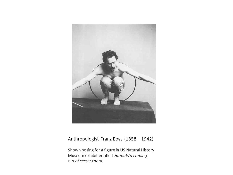 Anthropologist Franz Boas (1858 – 1942 ) Shown posing for a figure in US Natural History Museum exhibit entitled Hamats a coming out of secret room