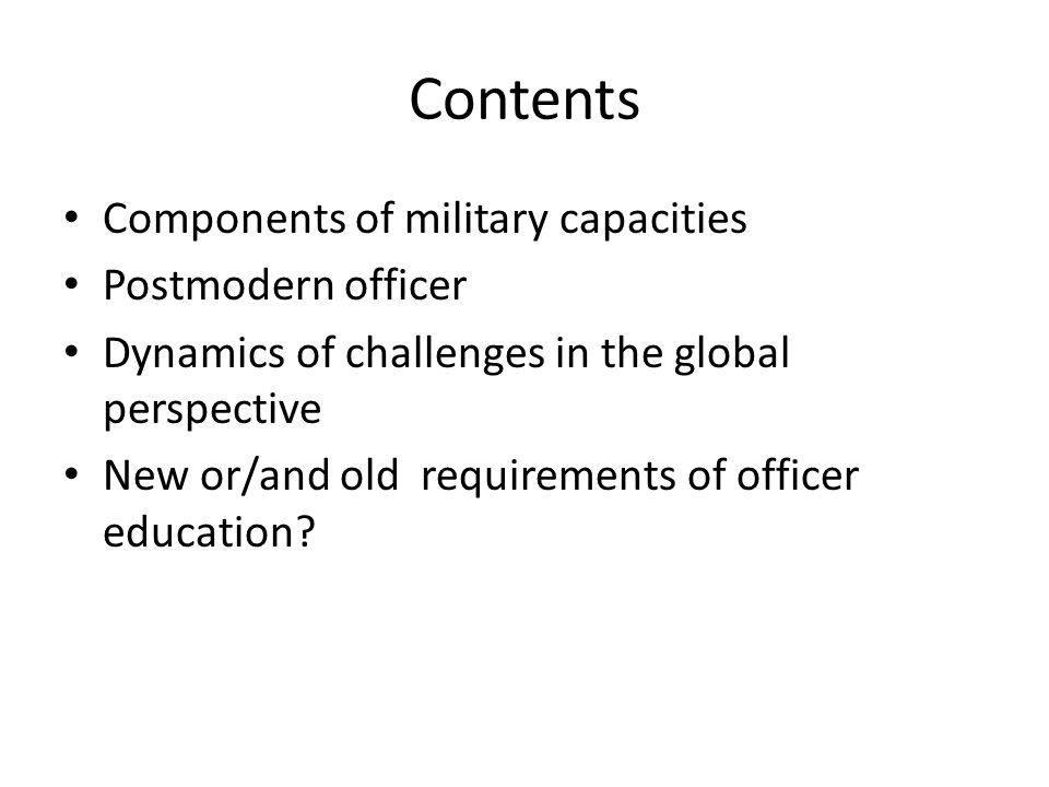 a plural military which would heighten the distinction within the armed service between the more civilianized support components and the more military operational units; (2) trading off future pay raises for maintenance of noncash benefits; (3) shifting the role of the senior noncommissioned officer away from emphasis on unit administration and toward more concern with the guidance of lower-ranking enlisted personnel; (4) an internal-educational program accenting the broader purpose and nonmonetary values of military service; (5) a recruitment policy allowing short tied to post-service educational benefits, and geared toward combat arms and relatively nontechnical assignments;