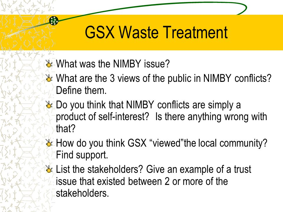 GSX Waste Treatment What was the NIMBY issue.