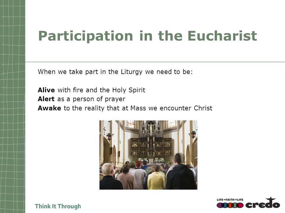 Participation in the Eucharist When we take part in the Liturgy we need to be: Alive with fire and the Holy Spirit Alert as a person of prayer Awake t