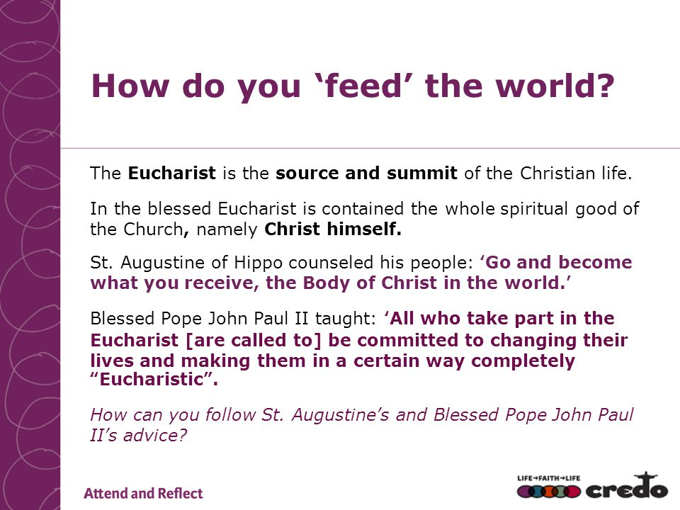 The Eucharist is the source and summit of the Christian life.