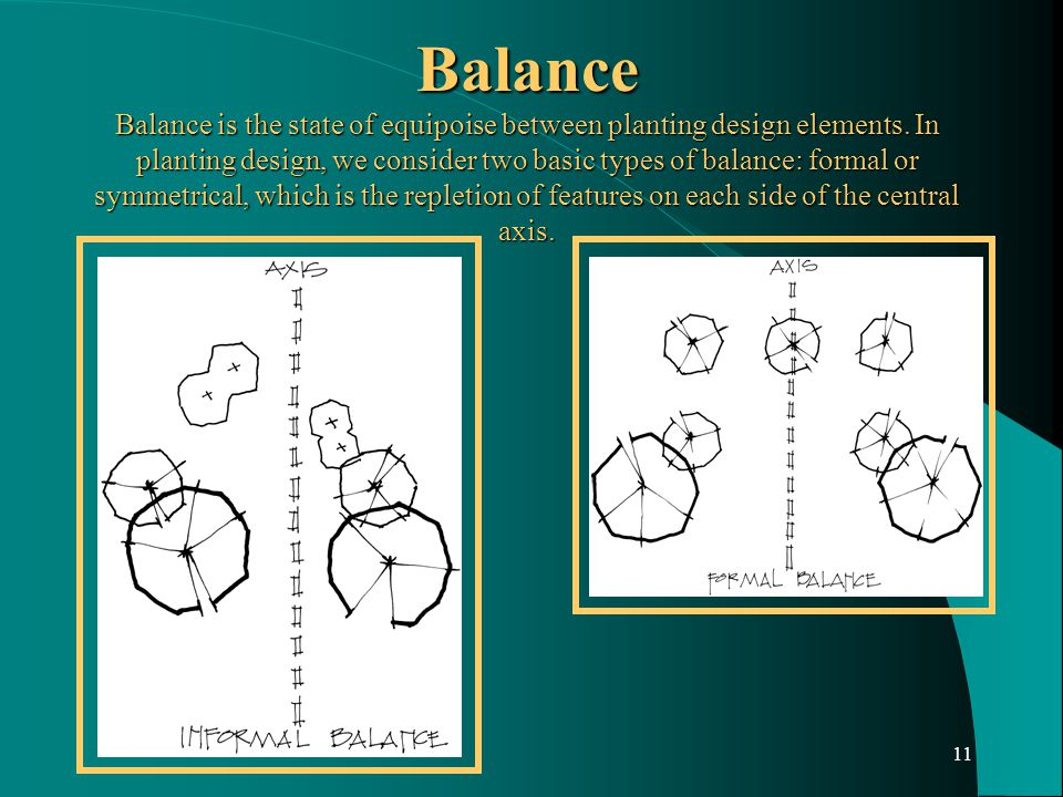 11 Balance Balance is the state of equipoise between planting design elements.