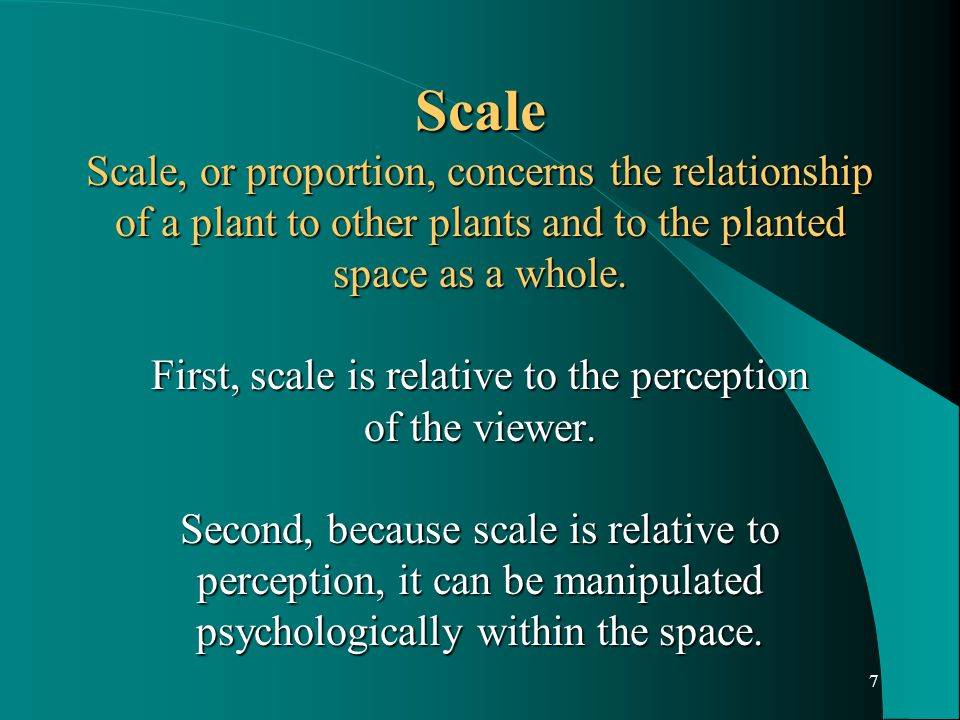 8 The following methods may be used to alter scale within the planted space: The size of the total space will offer certain limitations or advantages.
