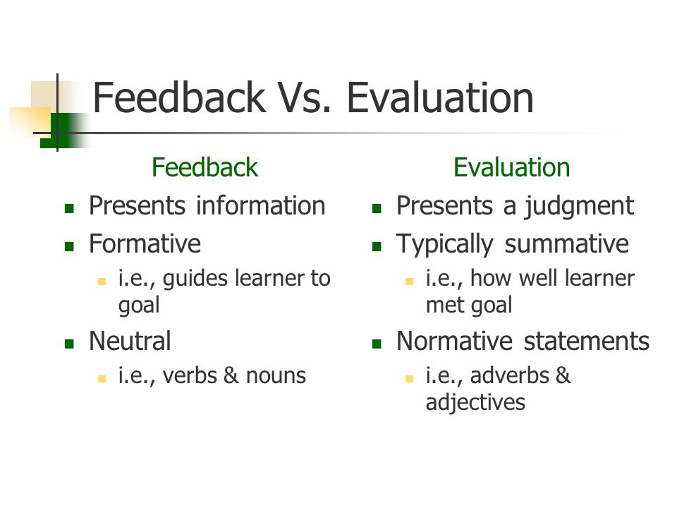 Feedback Vs. Evaluation Feedback Presents information Formative i.e., guides learner to goal Neutral i.e., verbs & nouns Evaluation Presents a judgmen