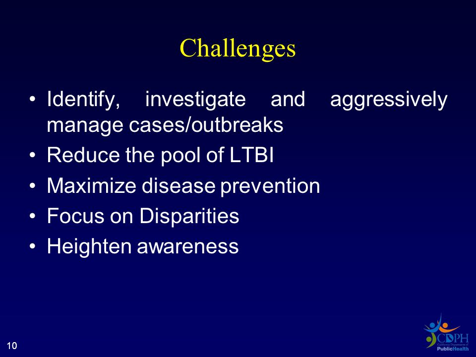 Challenges Identify, investigate and aggressively manage cases/outbreaks Reduce the pool of LTBI Maximize disease prevention Focus on Disparities Heighten awareness 10