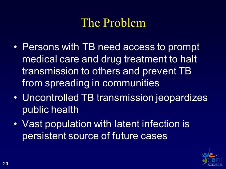 The Problem Persons with TB need access to prompt medical care and drug treatment to halt transmission to others and prevent TB from spreading in communities Uncontrolled TB transmission jeopardizes public health Vast population with latent infection is persistent source of future cases 23