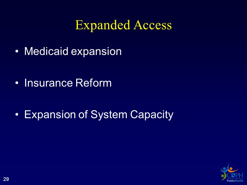 Expanded Access Medicaid expansion Insurance Reform Expansion of System Capacity 29