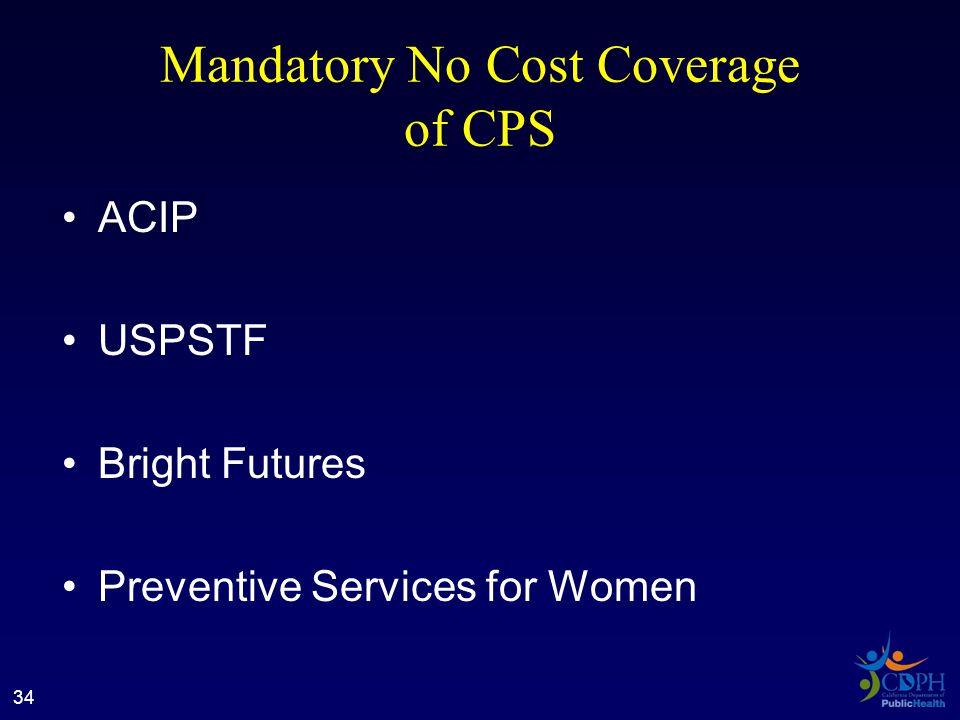 Mandatory No Cost Coverage of CPS ACIP USPSTF Bright Futures Preventive Services for Women 34
