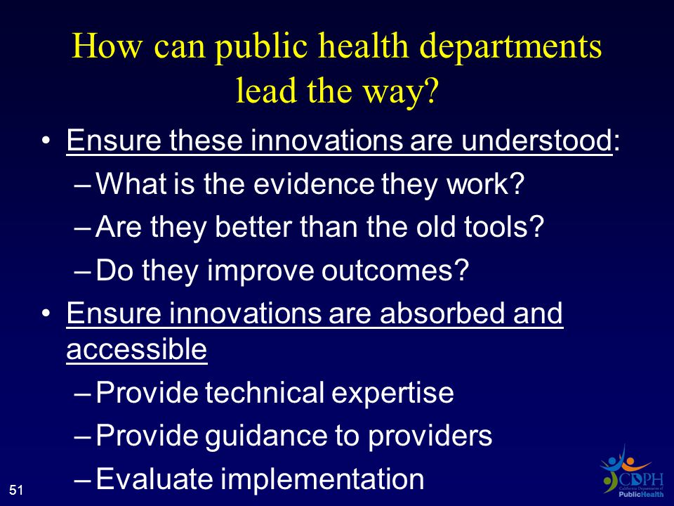 How can public health departments lead the way.