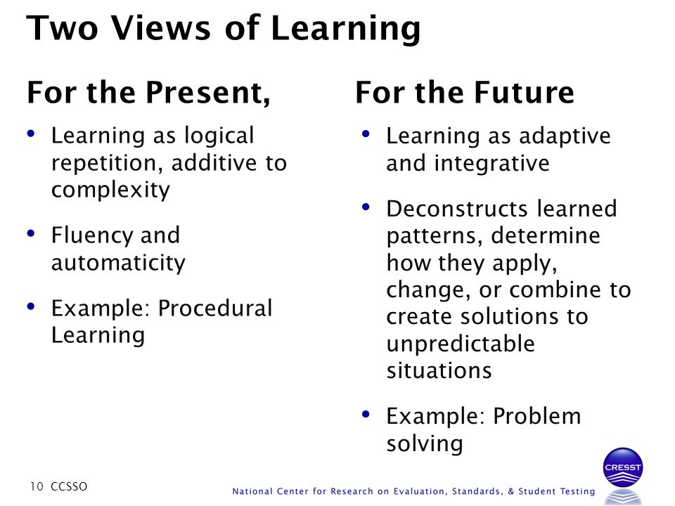 10 CCSSO Two Views of Learning For the Present, For the Future Learning as logical repetition, additive to complexity Fluency and automaticity Example