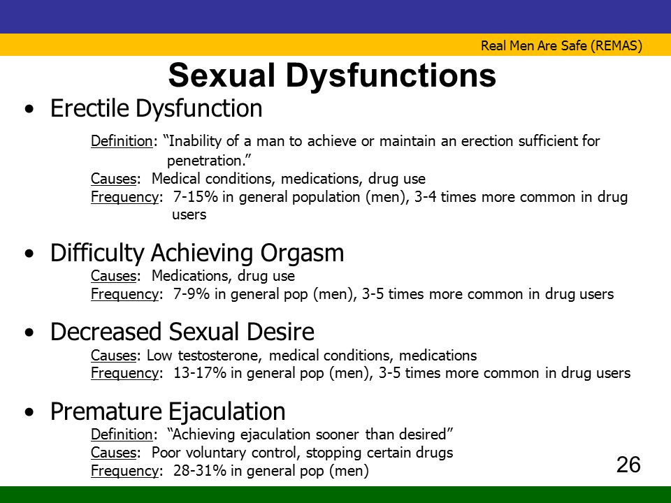 """Real Men Are Safe (REMAS) Sexual Dysfunctions Erectile Dysfunction Definition: """"Inability of a man to achieve or maintain an erection sufficient for p"""
