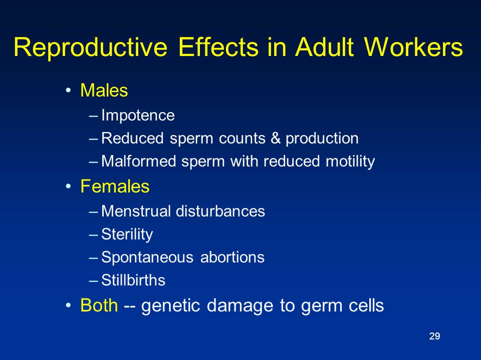 29 Reproductive Effects in Adult Workers Males –Impotence –Reduced sperm counts & production –Malformed sperm with reduced motility Females –Menstrual