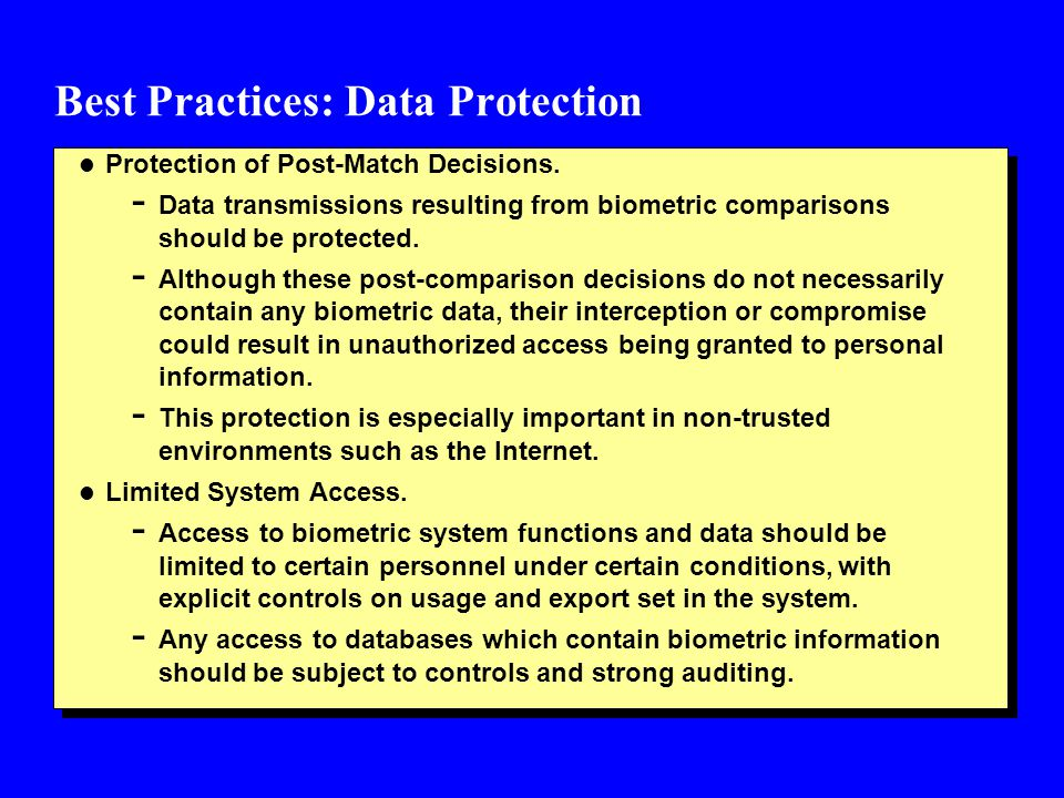 Best Practices: Data Protection l Protection of Post-Match Decisions.