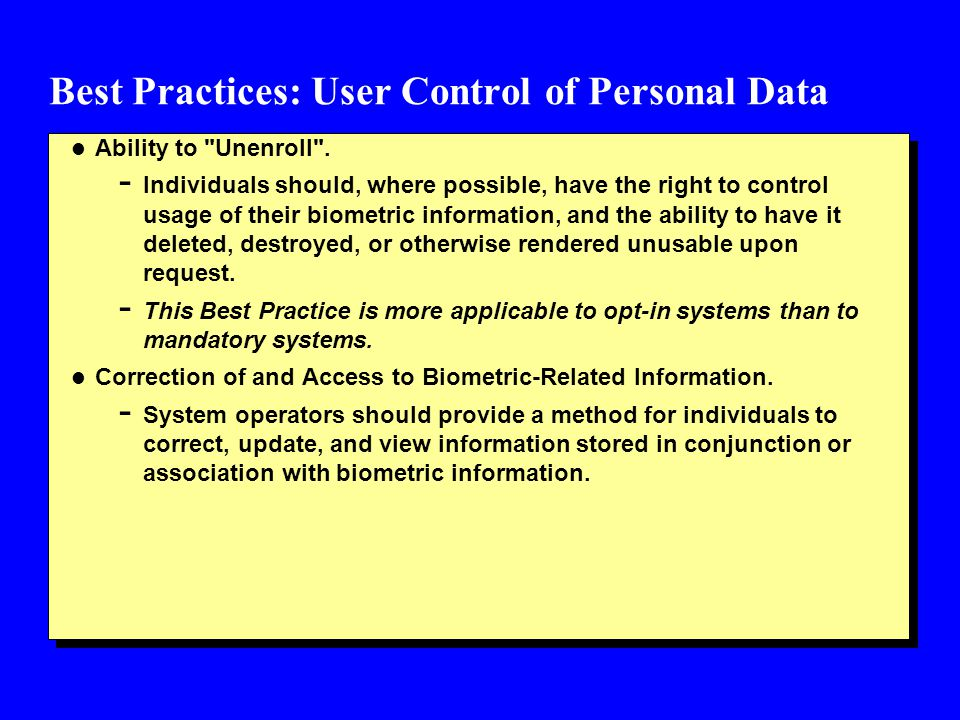 Best Practices: User Control of Personal Data l Ability to