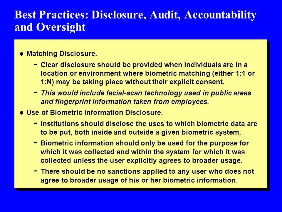 Best Practices: Disclosure, Audit, Accountability and Oversight l Matching Disclosure.