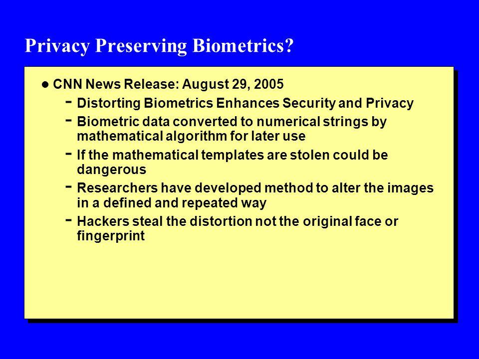 Privacy Preserving Biometrics.