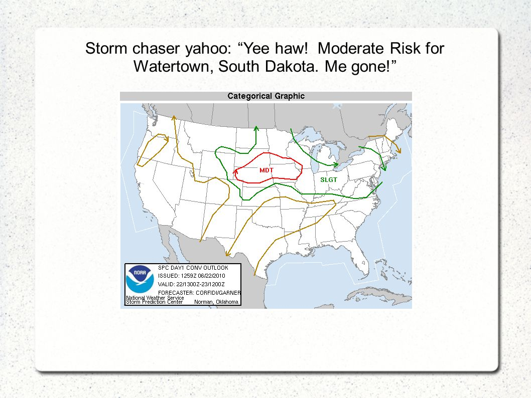 "Storm chaser yahoo: ""Yee haw! Moderate Risk for Watertown, South Dakota. Me gone!"""