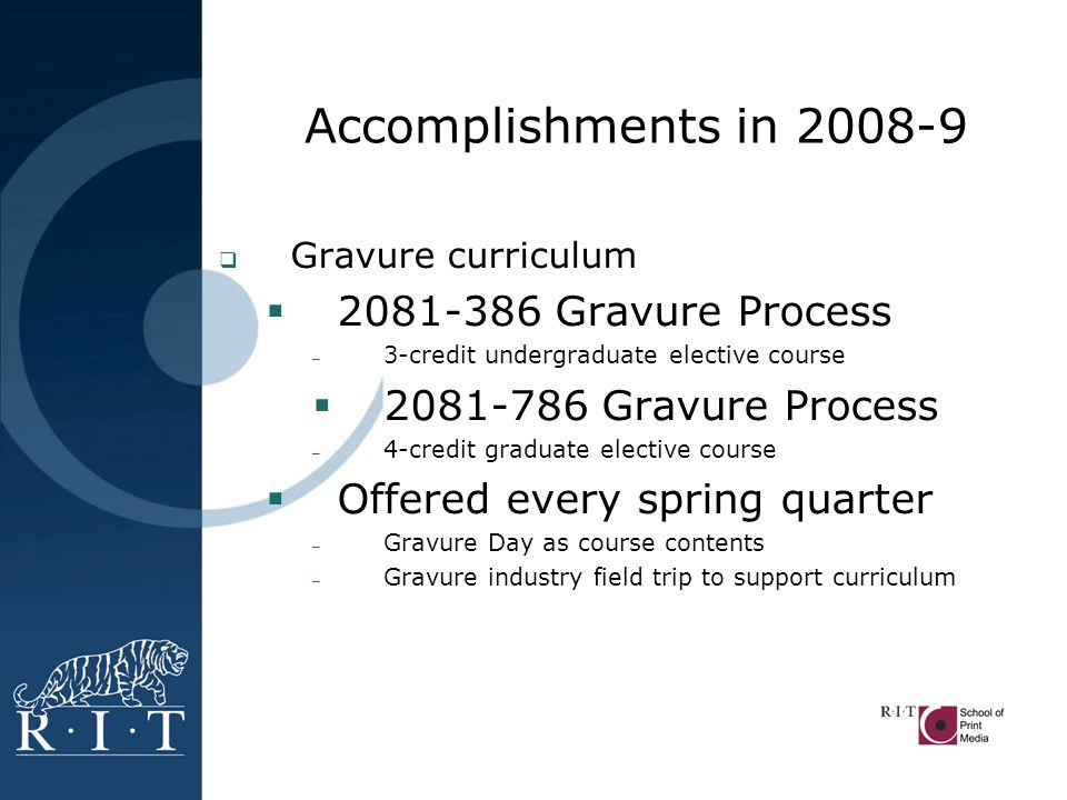 Accomplishments in 2008-9  H.