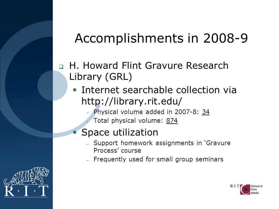 Accomplishments in 2008-9  H.