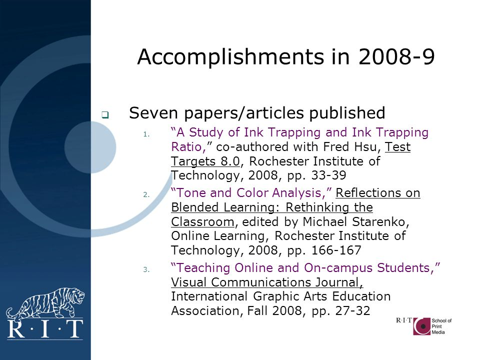 Seven papers/articles published (con't) 4.