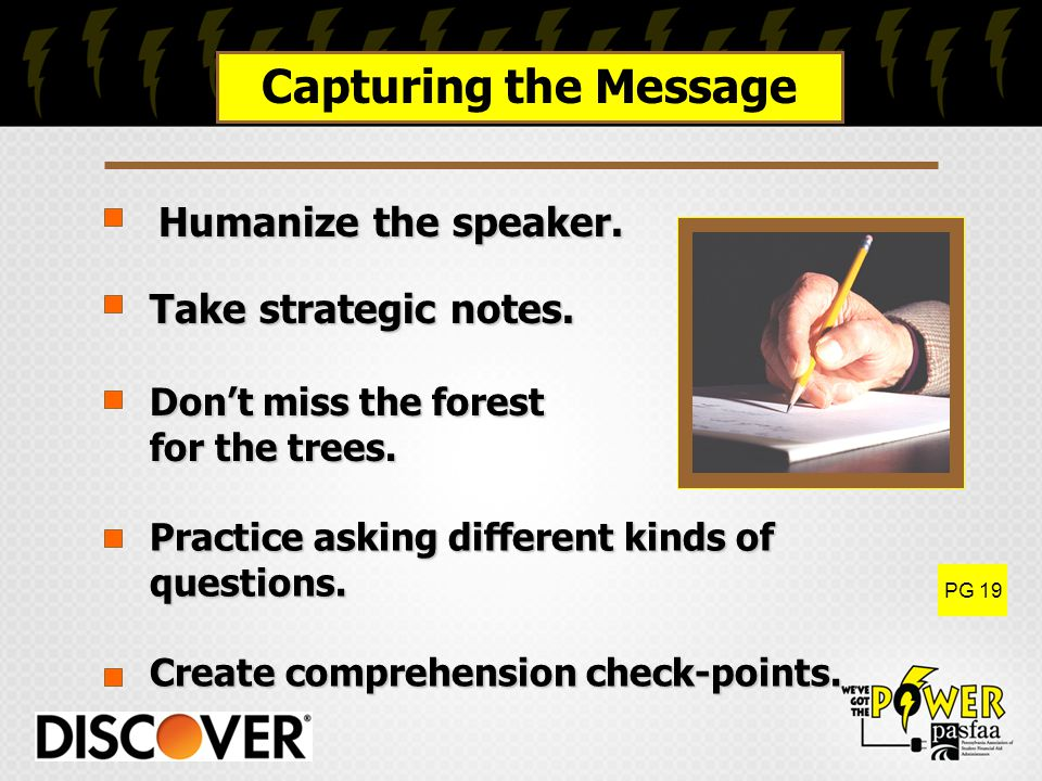 Create comprehension check-points. Practice asking different kinds of questions.