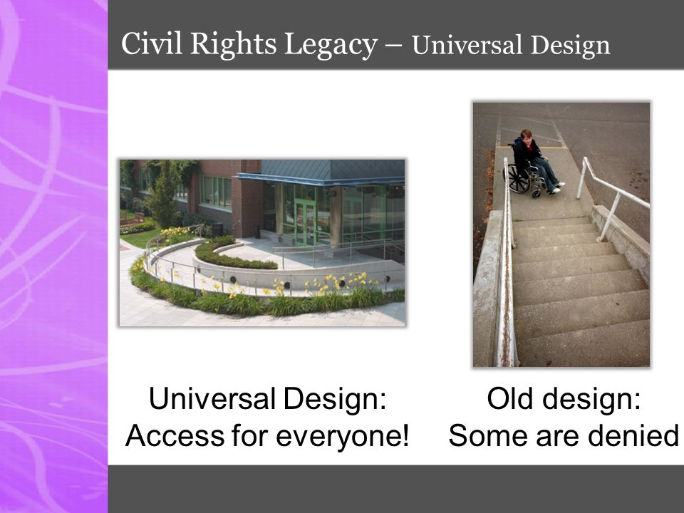 Universal Design for Learning  Born from architectural world  Intended to design and construct equal access facilities  Concept transferred to education