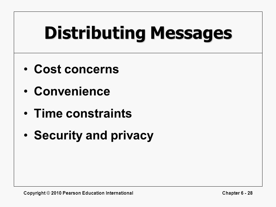 Copyright © 2010 Pearson Education InternationalChapter 6 - 28 Distributing Messages Cost concerns Convenience Time constraints Security and privacy