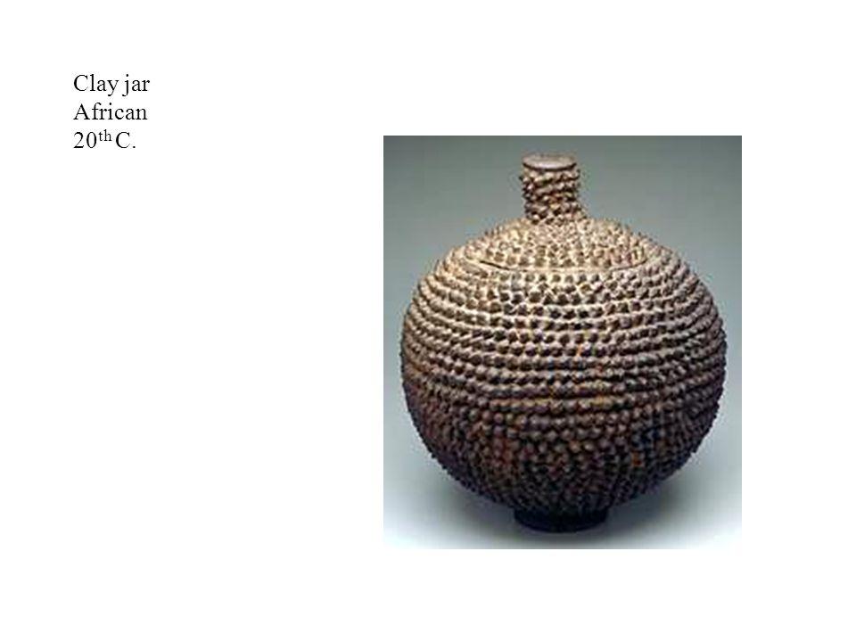Clay jar African 20 th C.