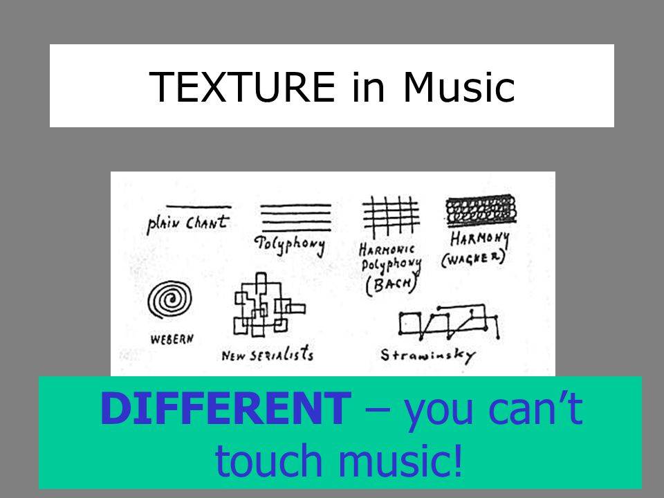 TEXTURE in Music DIFFERENT – you can't touch music!