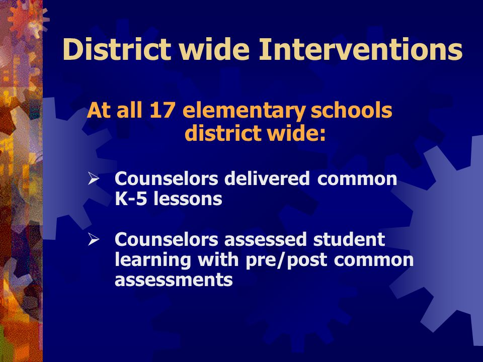 District wide Interventions At all 17 elementary schools district wide:  Counselors delivered common K-5 lessons  Counselors assessed student learning with pre/post common assessments