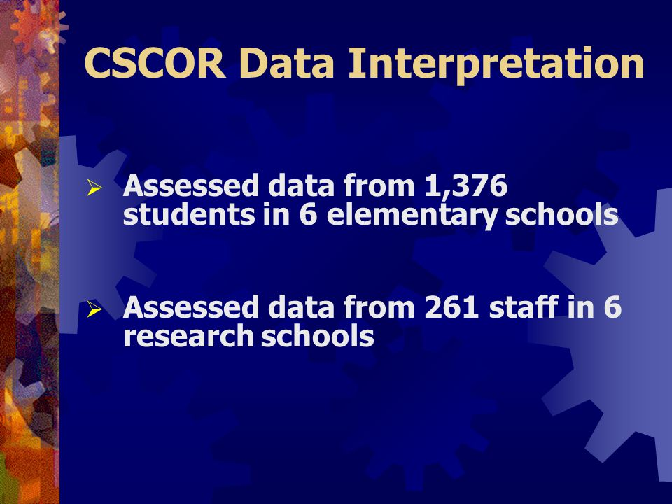 CSCOR Data Interpretation  Assessed data from 1,376 students in 6 elementary schools  Assessed data from 261 staff in 6 research schools