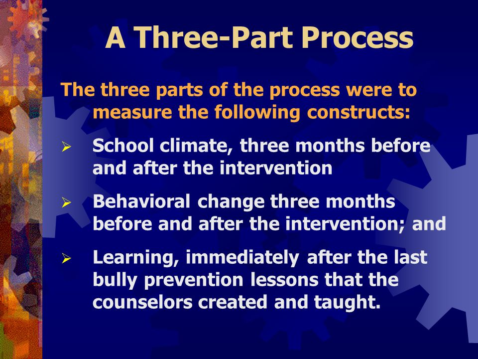 A Three-Part Process The three parts of the process were to measure the following constructs:  School climate, three months before and after the intervention  Behavioral change three months before and after the intervention; and  Learning, immediately after the last bully prevention lessons that the counselors created and taught.