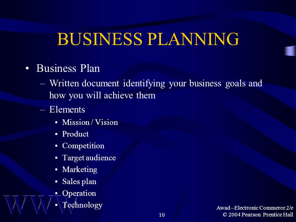 Awad –Electronic Commerce 2/e © 2004 Pearson Prentice Hall10 BUSINESS PLANNING Business Plan –Written document identifying your business goals and how