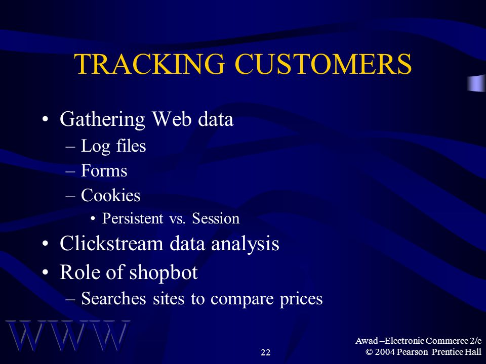 Awad –Electronic Commerce 2/e © 2004 Pearson Prentice Hall22 TRACKING CUSTOMERS Gathering Web data –Log files –Forms –Cookies Persistent vs. Session C
