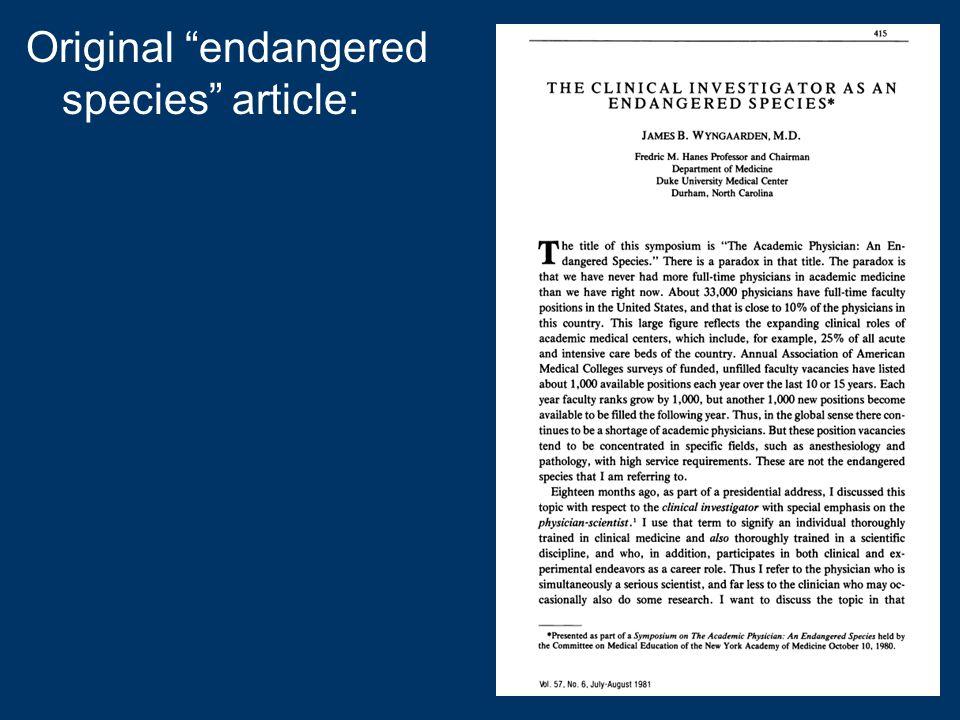 Original endangered species article: