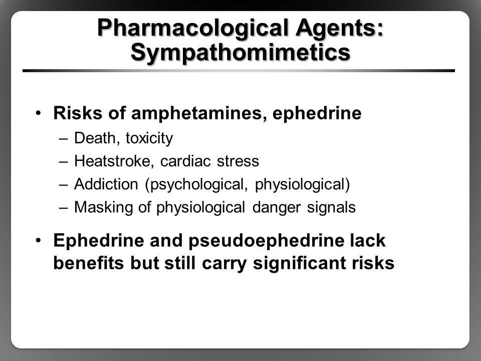 Pharmacological Agents: Sympathomimetics Risks of amphetamines, ephedrine –Death, toxicity –Heatstroke, cardiac stress –Addiction (psychological, phys
