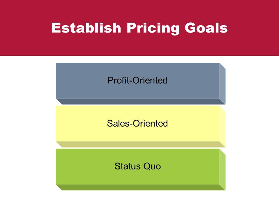Establish Pricing Goals Profit-Oriented Sales-Oriented Status Quo