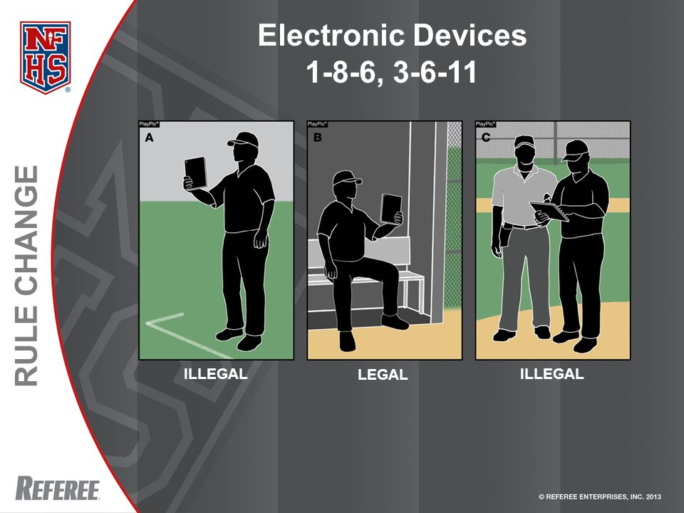 RULE CHANGE Electronic Devices 1-8-6, 3-6-11 ILLEGAL LEGAL