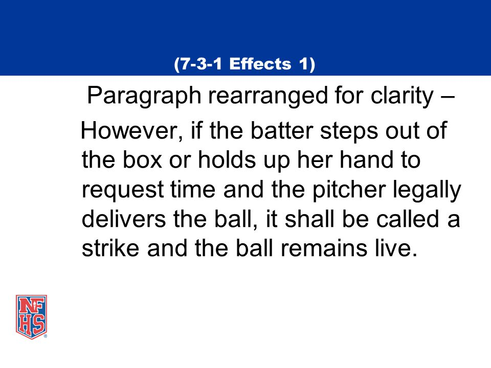 (7-3-1 Effects 1) Paragraph rearranged for clarity – However, if the batter steps out of the box or holds up her hand to request time and the pitcher legally delivers the ball, it shall be called a strike and the ball remains live.
