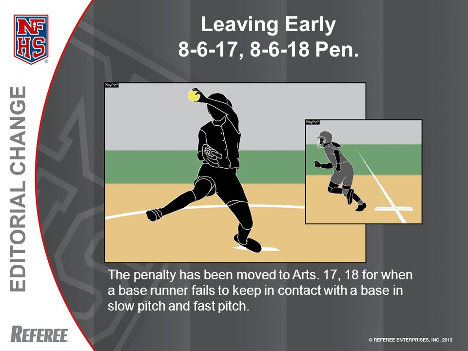 EDITORIAL CHANGE Leaving Early 8-6-17, 8-6-18 Pen. The penalty has been moved to Arts. 17, 18 for when a base runner fails to keep in contact with a b