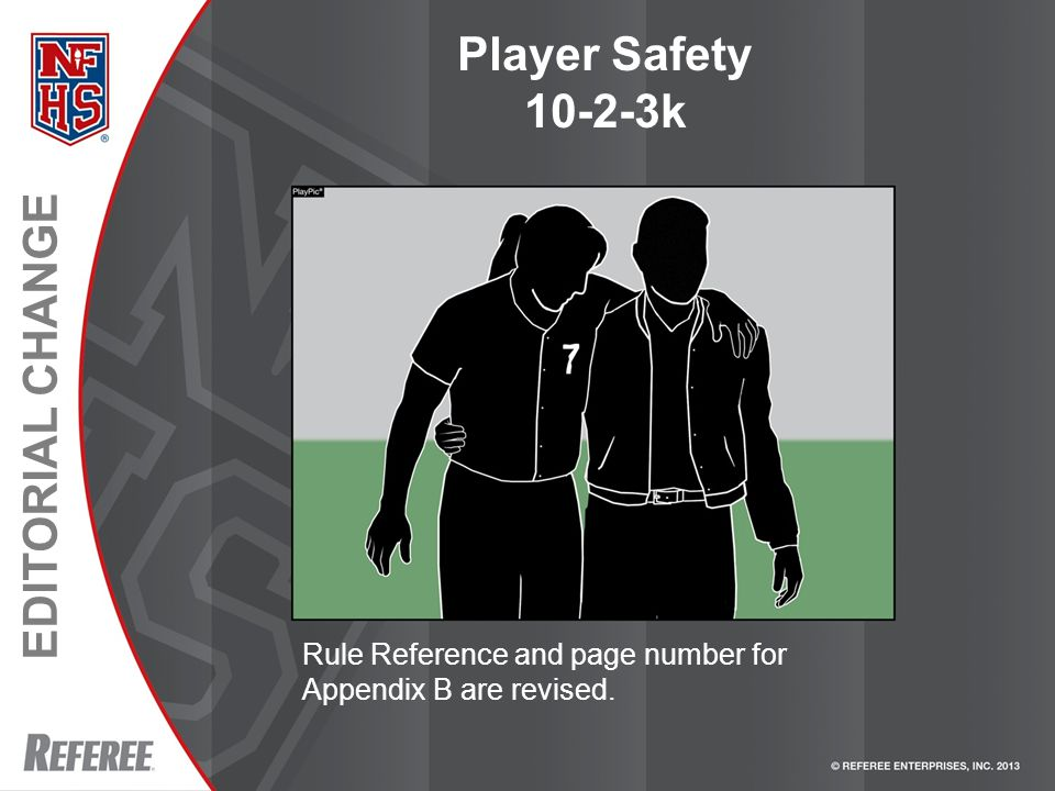 EDITORIAL CHANGE Player Safety 10-2-3k Rule Reference and page number for Appendix B are revised.