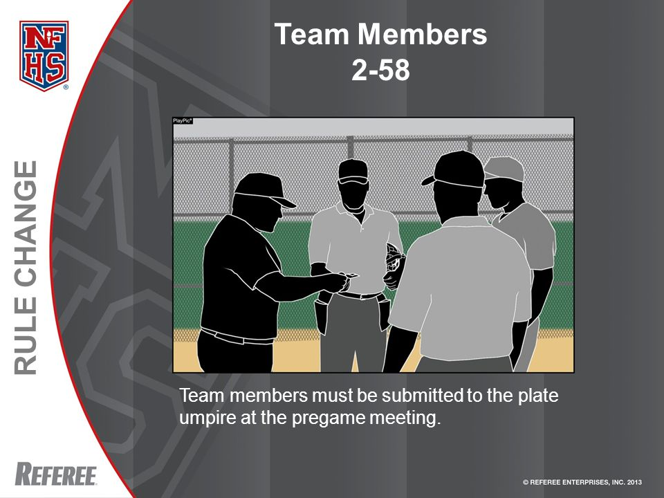 RULE CHANGE Team Members 2-58 Team members must be submitted to the plate umpire at the pregame meeting.
