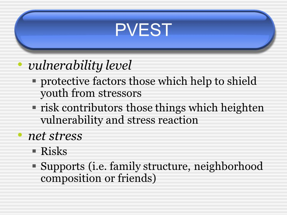 PVEST vulnerability level  protective factors those which help to shield youth from stressors  risk contributors those things which heighten vulnerability and stress reaction net stress  Risks  Supports (i.e.