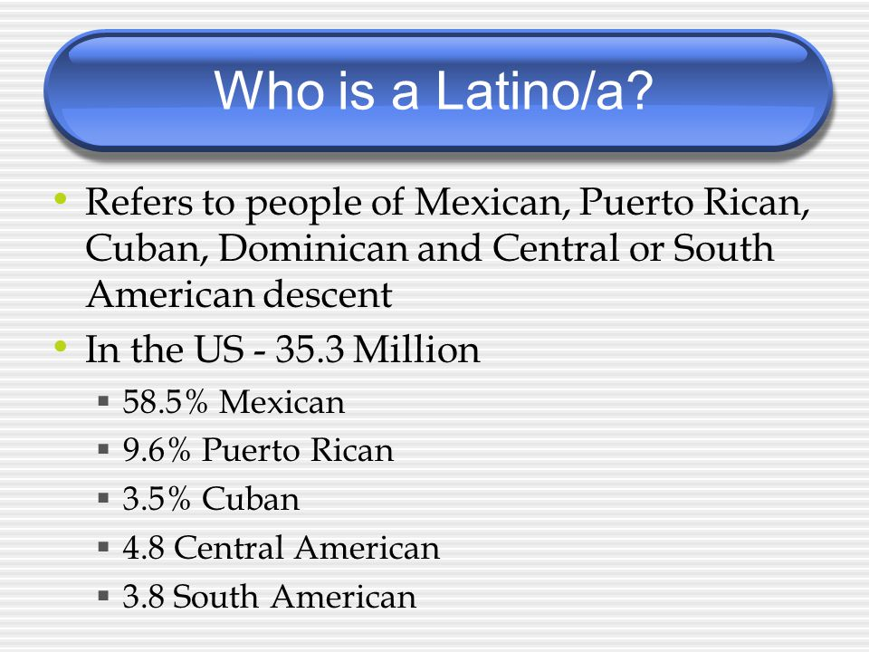 Who is a Latino/a.