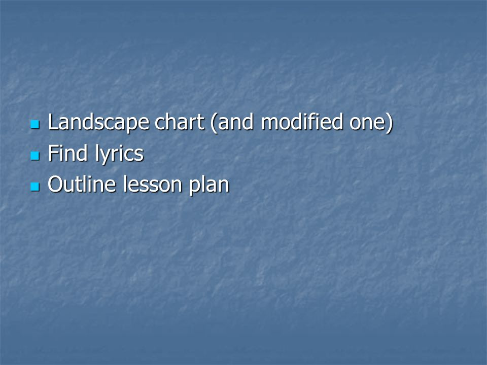 Landscape chart (and modified one) Landscape chart (and modified one) Find lyrics Find lyrics Outline lesson plan Outline lesson plan