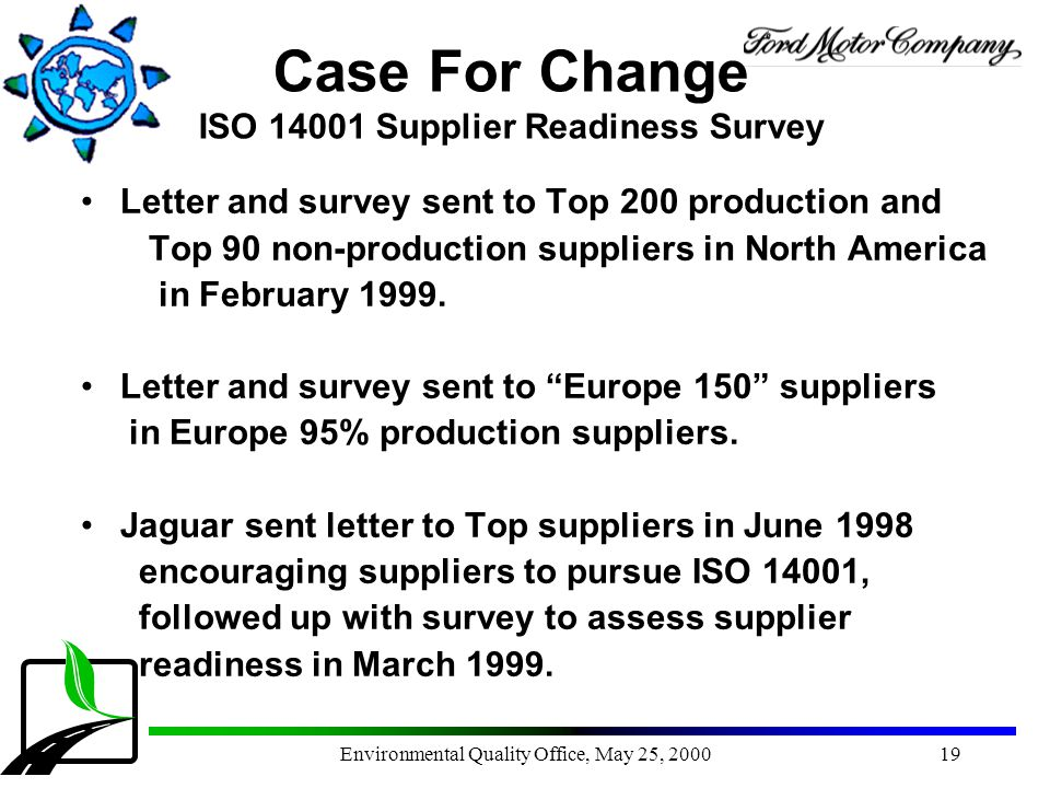 Environmental Quality Office, May 25, 200019 Case For Change ISO 14001 Supplier Readiness Survey Letter and survey sent to Top 200 production and Top